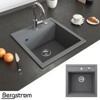 Bergström Granit Spüle Küchenspüle Einbauspüle Spülbecken 490x500mm Grau