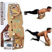 Liegestütze Brett aus 100% Echtholz mit Widerstandsbändern für ein Ganzheitliches Fitnesstraining - Holz Fitness Push Up