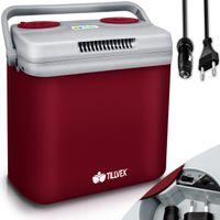 tillvex Kühlbox elektrisch 32L Rot | Mini-Kühlschrank 230 V und 12 V für KFZ Auto Camping | kühlt & wärmt | ECO-Modus
