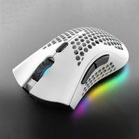 Drahtlose Maus mit USB-Empfaengerstecker Ergonomische optische RGB-beleuchtete Maus 3 Stufen DPI mit Scrollrad 2 Daumenknoepfe Eingebaute 400-mAh-Akku mit hoher Kapazitaet Zelle fuer Laptop-Computer E-Sport tragbar