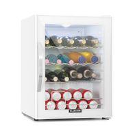 Klarstein Beersafe XL Quartz Getränkekühlschrank  ,  60 Liter  ,    ,  5 Kühlstufen: 3 - 10 °C  ,  42 dB  ,  2 flexible Metallböden  ,  LED-Licht  ,  Kühlschrank für Flaschen  ,  Mini Bar  ,   Glastür mit weißem Rahmen  ,  weiß