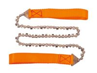 Herbertz Handkettensäge, 33 Manganstahl Sägezähne, orangefarbene Handschlaufen, schwarzes Kunststoffetui