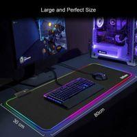RGB Gaming Mauspad XXL LED Mousepad Großes 800 x 300 x 4 mm 10 Beleuchtungsmodi Maus Mat Beleuchtung Tastatur Unterlage Extra USB Eingang für Maus, Tastatur oder Handy