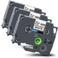 Xemax kompatibel Etikettenband Ersatz für Brother P-Touch Tze-S231 TZ-S231 Extra-stark Klebend Schriftband für PT-1010 PT-P750W PT-D400 PT-H101C PT-1000 PT-H105, Schwarz auf Weiß, 12mm X 8m, 3er-Pack