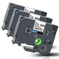 Xemax Kompatibel Schriftband als Ersatz für Brother TZe-221 für Brother P-Touch PT-H100L H105 H100r D400 D600 PT-1010 Laminiert Kassette Farbbänder 9mm schwarz auf weiß, 3 pack