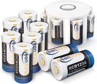 Wiederaufladbare Arlo Akkus, 3.7V 700mAh Cr123a Li-ion Arlo RCR123A Batterien, mit Batterie Gehäuse und 2 Silikon Hüllen für Arlo Überwachungskamera VMC3030/3230/3330/3430 (8 Stücke)