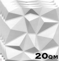 (!!! Sparpaket 20 qm / 80 Stück !!!) 3D Wandpaneele Wandverkleidung Deckenpaneele Platten Paneele Diamant Weiß Polystyrol Material