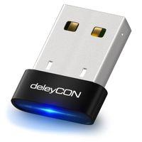 deleyCON USB Bluetooth Adapter Stick - Bluetooth 4.0 Technologie - Plug & Play - EDR Modus bis 3MBit/s - Windows 10 kompatibel - bis 10m Reichweite - Schwarz