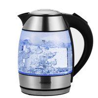 Monzana Wasserkocher Teekocher Edelstahl Kocher Glas LED BPA frei kabellos 1,8L 2200W 360 Grad drehbarer Kontaktsockel, Zubehör:ohne Teesieb