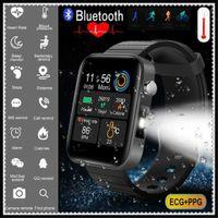 Hochwertige Smart Watch Männer Frauen Smartband Körpertemperatur Blutdruck Blutsauerstoffmonitor Armband Fitness Tracker Armband Pulsmesser Schwarz