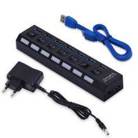 7 Port USB 3.0 Hub Splitter mit Aktiv einzelnen Power Schalter Netzteil für PC