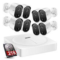 ZOSI 8CH H.265+ 5MP 1920P Außen PIR Überwachungskamera System HDMI DVR mit 2TB Festplatte, 12M IR Nachtsicht