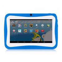 7 Zoll Kinder Tablet Android 4.4 Tablet PC 8 GB Lerncomputer 1024 * 600 Aufloe sung WiFi-Verbindung mit Silikonhuelle Q768,Blau