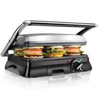 Aigostar - Sandwich Panini-Maker, Edelstahl-Panini-Maker mit Ölauffangschale, 2000W, , leicht zu reinigen, multifunktionales Backen, sicher im Gebrauch.