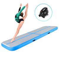 Crenex 400X100X20CM Aufblasbar Turnmatte Air Matte Track Gymnastikmatte Tumbling mit Elektropumpe blau