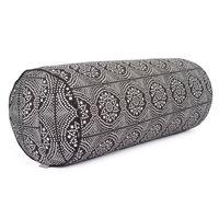 Maharaja Collection: Yoga Bolster gemustert, 65 x Ø 23 cm Bandhani, schwarz/weiß | Dinkelhülsen