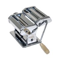 Verchromte Nudelmaschine mit 3 verschiedenen Walzen – ideal zur Herstellung von Lasagne, Spaghetti und Bandnudeln – mit manuellem Kurbelantrieb für frische, selbstgemachte Pasta