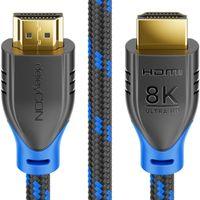 deleyCON - 1m - 8K HDMI 2.1 Kabel Nylon 8K@60Hz 4K@120Hz 1080P@240Hz 7680x4320p Dolby DTS HDR ARC CEC HDTV UHD Ethernet Schwarz