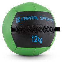 CAPITAL SPORTS Epitomer - Medizinball , Wall Ball , Fitness Ball , Krafttraining , Ausdauertraining , Functional Training , vernähtes Kunstleder , griffige Oberfläche , Farbe: grün , Gewicht: 12 kg
