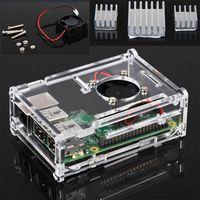 Protective Enclosure Case +Cooling Fan + 3x Heatsink For Raspberry Pi B+