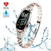 Damenmode Bluetooth Smart Armband Fitness Tracker Wasserdicht Herzfrequenz Blutdruck Smart Watch für Android iOS (Gold)