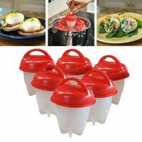 6x Eierking Eierkocher Silikon Eggies Antihaft Silikon Eierbecher ohne Schale