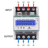 Drehstromzähler geeicht für DIN Hutschiene + 3x5(80)A 230/400V 3 Phasen 4 Draht  LCD Drehstromzähler Geeicht Für DIN Hutschiene 3-Phasen-4-Draht Stromzähler