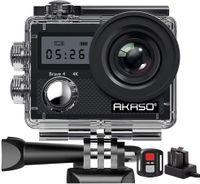 AKASO Action Camera Brave 4 / 4K 20MP Action Kamera/Unterwasserkamera mit Bildstabilisierung Zoom Zeitraffer,30m Camcorder mit Fernbedienung 2 Akkus und Zubehör Kit
