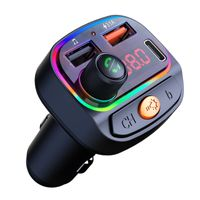 KFZ USB Ladegerät Auto Bluetooth 5.0 FM-Transmitter mit Typ C USB Autoladegerät 12/24V, 3.1A, Zigarettenanzünder, Radio Adapter Freisprechsystem, 7 Farben LED, Unterstützt USB-Stick