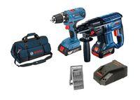 Bosch Set Akku-Bohrhammer GBH 18V-20 + Akkuschrauber GSR 18V-21, 2 Akkus, Ladegerät, Tasche
