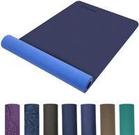 TOPLUS Preumium Yogamatte aus hochwertigen TPE, rutschfest Yogamatte Gynastikmatte Übungsmatte Sportmatte für Yoga, Pilates, Fitness usw. (183x61x0.6cm),Blau