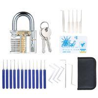 22 PCS Lock Picking Set mit sichtbarem Trainingsschloss Transparentes uebungsschloss Schlosserwerkzeuge Lockpicking Set fuer Anfaenger Profis Kinder