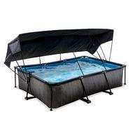 EXIT Black Wood Pool 300x200x65cm mit Sonnensegel und Filterpumpe - schwarz