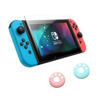 Lammcou Displayschutzfolie Kit für Nintendo Switch Panzerglas Folie Hartglas Schutzfolie & Joystick Kappen for Nintendo Switch (2017) Tempered Glass Screen Protector