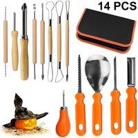 Kürbis Schnitzset 14 teilig, Profil Halloween Kürbis Schnitzwerkzeuge aus robusten Edehlsthal