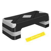 SONGMICS Steppbrett für Aerobic, höhenverstellbare Plattform, 68 x 27 x (10/15/20) cm, Stepper mit Widerstandsband, schwarz-grau STE684G01