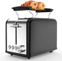 morpilot Toaster Schwarz Edelstahl Toaster mit Brötchenaufsatz, 2 Scheiben, 6 Bräunungsstufen, Krümelschublade, Auftau, Aufwärm, Abrechen Funktion