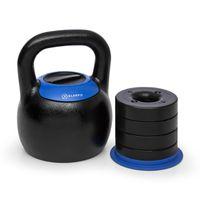 Klarfit Adjustabell Verstellbare Kettlebell, Kugelhantel, verstellbares Gewicht: 16 / 18 / 20 / 22 / 24 kg, platzsparend, Gusseisen, schwarz-blau