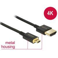 Delock Kabel HDMI A Stecker > HDMI Micro D Stecker 3D 4K 0,5 m