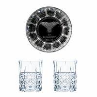 Game of Thrones Whiskygläser Set The Six Kingdoms, Dreiäugiger Rabe, Graviertes Whiskyglas, GoT, 2 Stück, Kristallglas, 345 ml