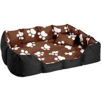 tectake Hundebett mit Decke und Kissen 110 x 90 cm - braun/schwarz/weiß