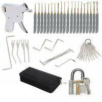 30x Edelstahl Lock Picking Tools Set mit Transparenten Trainingsschloss