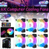 6x RGB PC Gehäuse Lüfter Mehr LED Lichteffekt 6 Polig Gehäuselüfter Fernbedienen