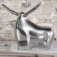 cagü: Design Deko Skulptur Briefbeschwerer Stier [HECTOR] Silber aus poliertem Aluminium 17cm Länge, Echter Wohnaccessoire Designklassiker!