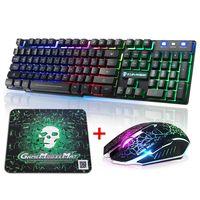T6 Rainbow Beleuchtet Gaming Tastatur USB Ergonomisch + 2400DPI Maus + Mauspad