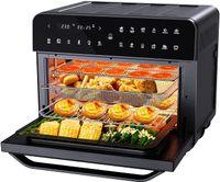 Kompaktfriteusen Öfen, 25L extra groß Fritteuse Air Fryer, Airfryer Backofen mit 12 Programme,1800W Digitalen LED-Display mit 5 Zubehor und Rezeptheft,Friteuse Heissluft,Toaster,Dorrgerat,Schwarz