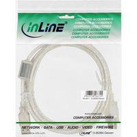 InLine® USB 2.0 Verlängerung, St/Bu, Typ A, transparent, mit Ferritkern 2m