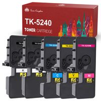 Toner Kingdom Kompatibel Kyocera Ecosys M5526cdw Ersatz für Kyocera TK-5240 TK-5240K TK-5240C TK-5240Y TK-5240M Toner für ECOSYS M5526cdn M5526cdw P5026cdn P5026cdw (5-Pack, 2Schwarz 1Cyan 1Gelb 1Magenta)