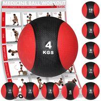 Medizinball Medizin Gewichtsball 1 - 10 kg inkl. Workout I Schwarz / Rot Gewicht: 4 kg