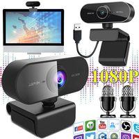 Webcams 1080P Webcam Videoanruf USB Clip-on Desktop-Kamera Online Remote Teaching Studieren Video Chat Web Cam Fuer Computer Laptop Notebook PC Mac Monitor